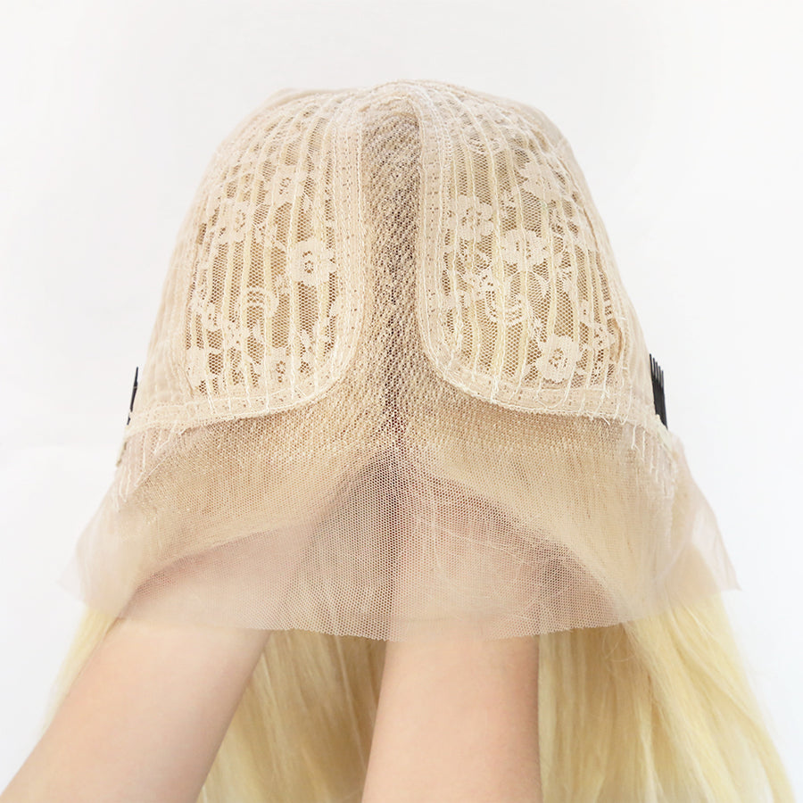 T Part 613 Blonde Wig Straight Lace Front Wig Human Virgin Hair