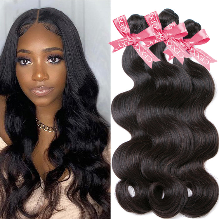 CEXXY Popular Series Transparent 4*4 Closure + 7A Brazilian Virgin Hair Body Wave 3 Bundles