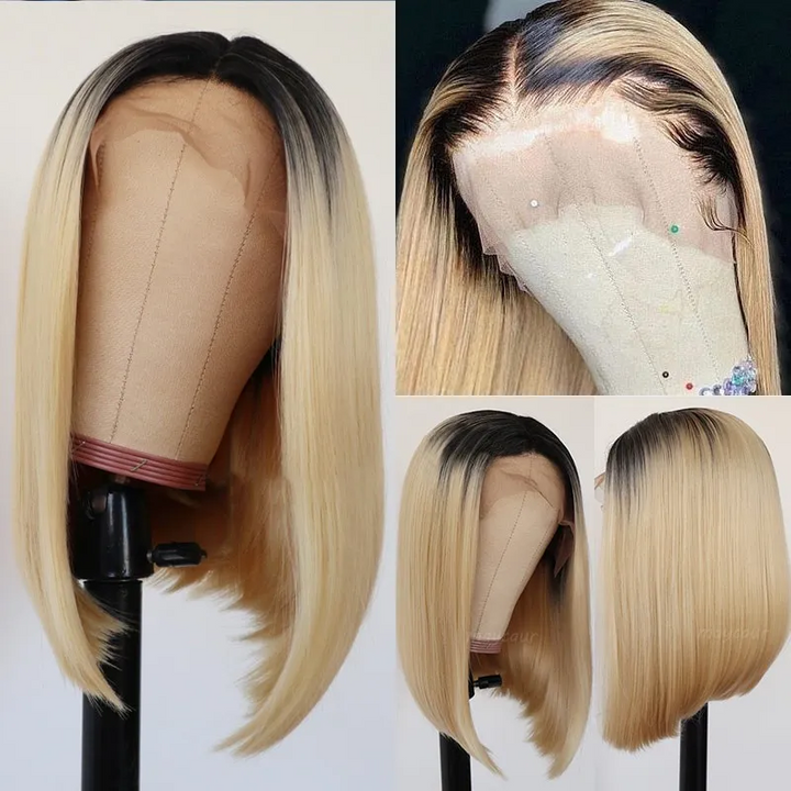 1B 613 Blonde Bob Wig Short Human Hair Wigs Pre-Plucked Hairline