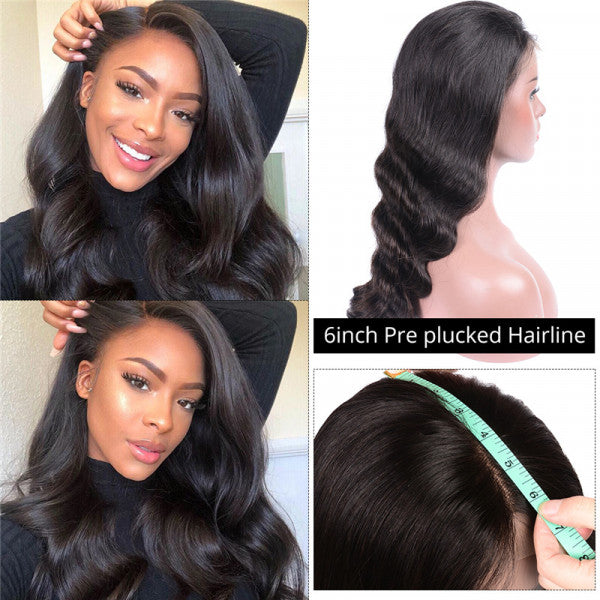 Body Wave 6*6 Lace Closure Wig Pre-plucked Brazilian Human Hair Lace Wig
