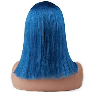 Blue Colored Hair Bob Wig Short Human Hair Wigs Pre-Plucked Hairline