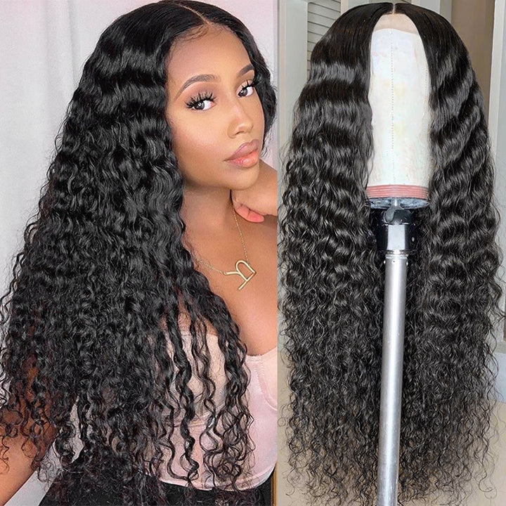 Transparent Lace 4*4 Closure Wigs Curly Deep Wave Brazilian Lace Front Wigs