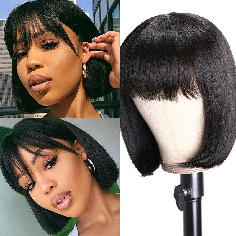Bob Wig With Bangs 150% Density Straight Short Human Hair Wigs