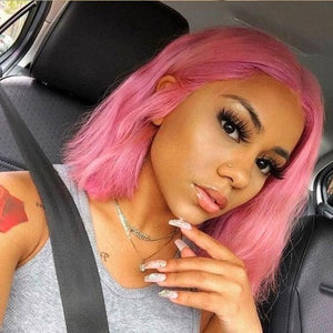 Pink Colored Hair Bob Wig Short Human Hair Wigs Pre-Plucked Hairline