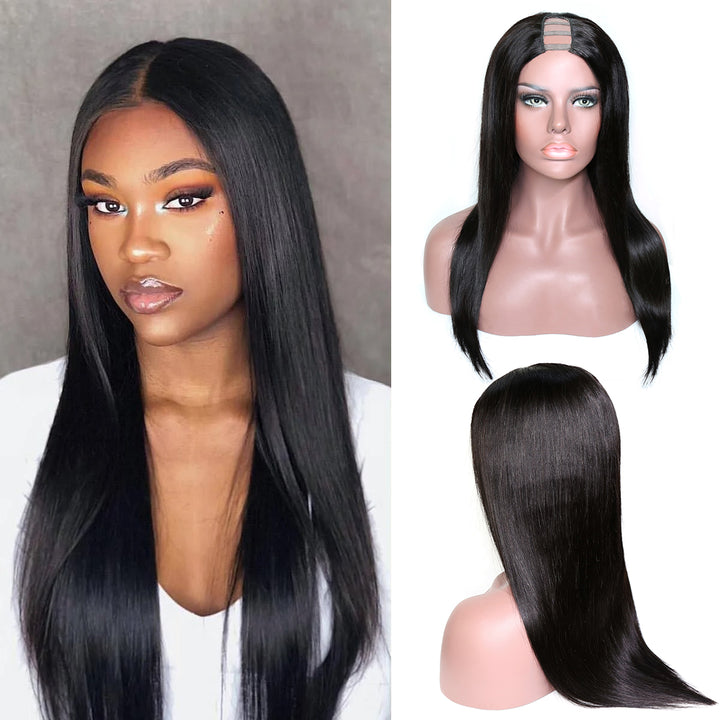 U Part Wig Straight 2*6 Brazilian Human Glueless Lace Wig