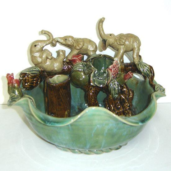 Ceramic Water Fountain with 3 Elephants - C&J Gardening Center