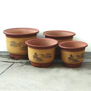 Classic Chinese Floral pot, with Scenery pattern, set of 4 - C&J Gardening Center