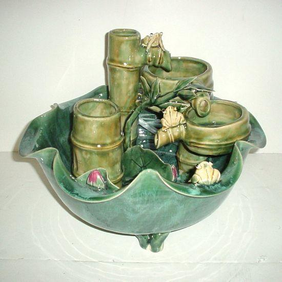 Ceramic Water Fountain with Lotus Frogs and Bamboo - C&J Gardening Center