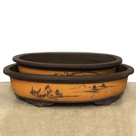 Bonsai Planter , Oval Shape, Set of 2 - C&J Gardening Center