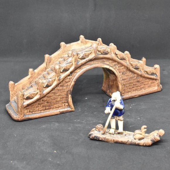 Miniature Ceramic Stone Bridge n Fisherman Display - C&J Gardening Center