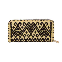 ethnic inspired Mexican embroidered zipper wallet, geometric