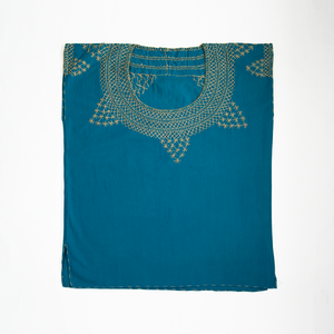 Cross stitch embroidered Mexican blouse, turquoise