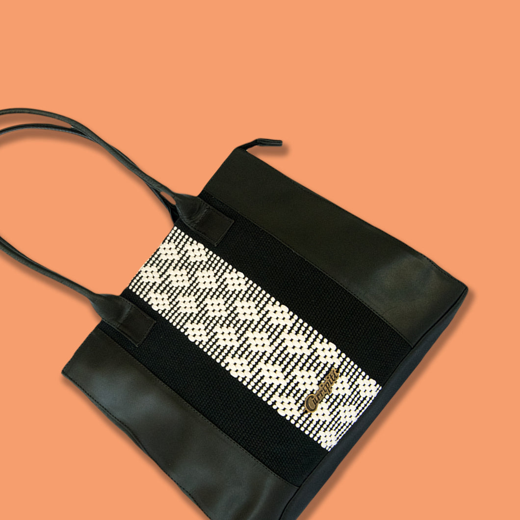 black and white leather bag with loom insert, geometrical pattern