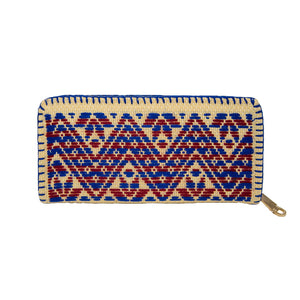 Ethnic embroidery Mexican zig zag wallet, red and blue