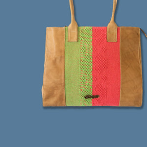 camel leather bag with loom insert