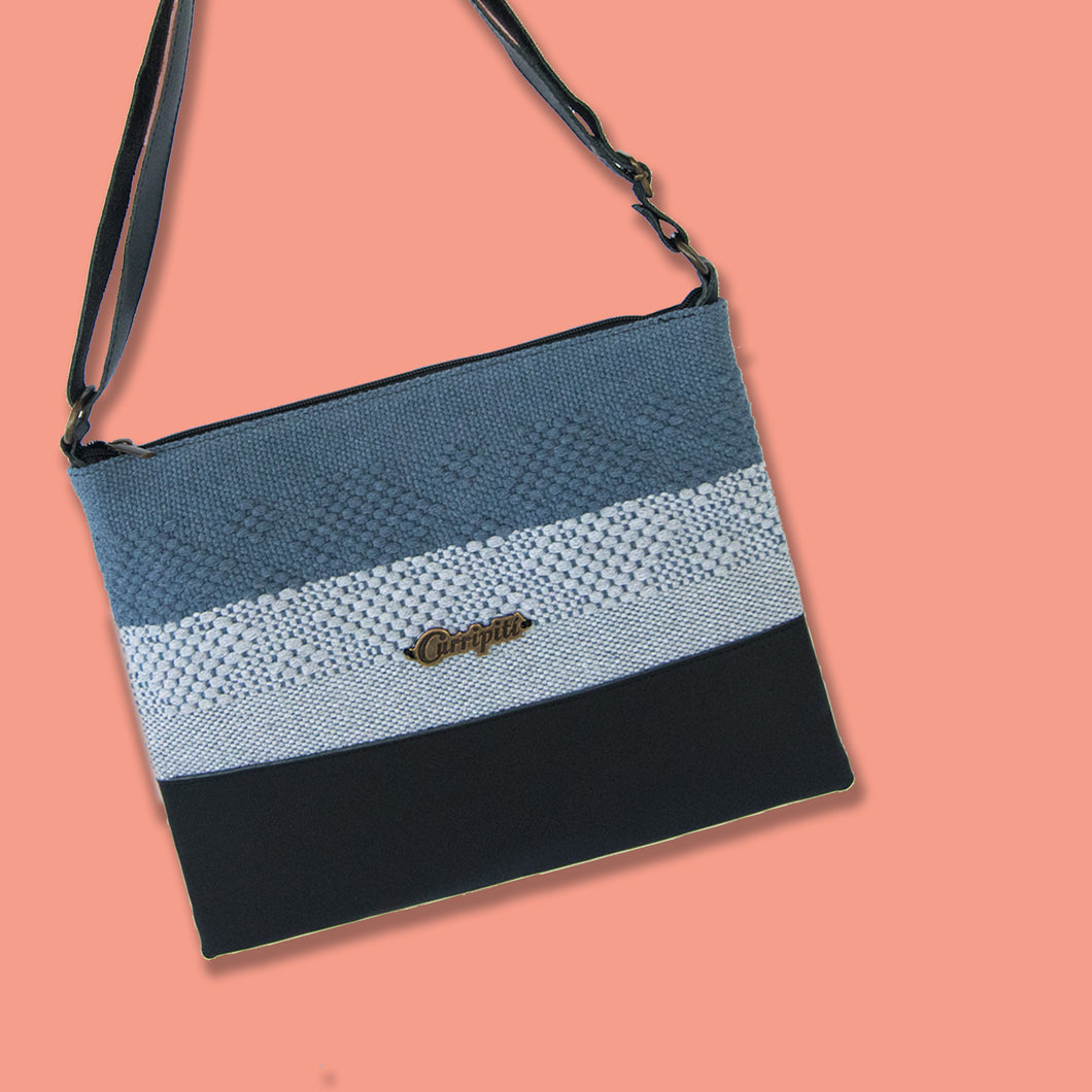 Cross-Body Bag in Black Leather with Gray Stripes.