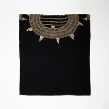 Cross stitch embroidered Mexican black cotton huipil