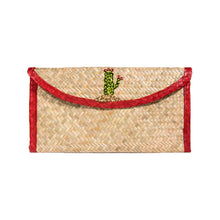 palm woven clutch bag embroidered with sequin, cactus, red trim