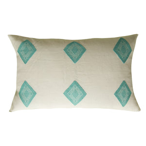 delicate cotton loom cloth with diamonds in turquoise, pillow from Chiapas, Mexico