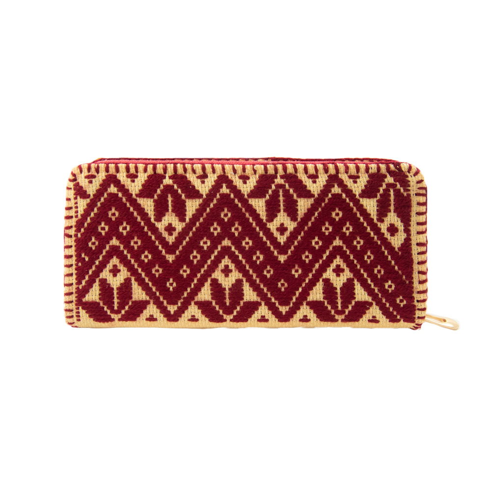 ethnic inspired Mexican embroidered zipper wallet, zig zag