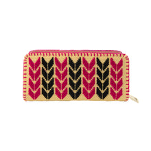 geometric arrow hand embroidered wallet, black and pink