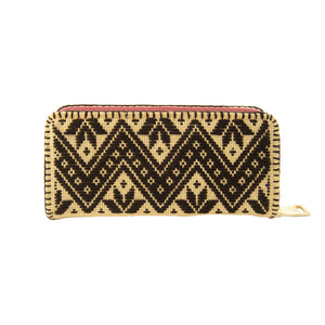 Ethnic embroidery Mexican zig zag wallet, brown