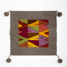 Boho style handmade wool pillow with geometric pattern of fishes