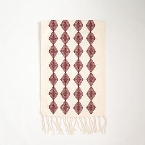 cotton accent, bohemian loom table runner from Chiapas, burgundy