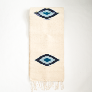 bohemian wool table runner with blue diamonds made on loom from Oaxaca, Mexico