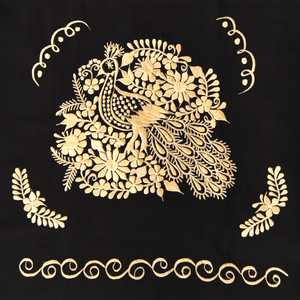 Mexican black dress with golden floral embroidery