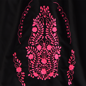 Mexican pink embroidery from black dress