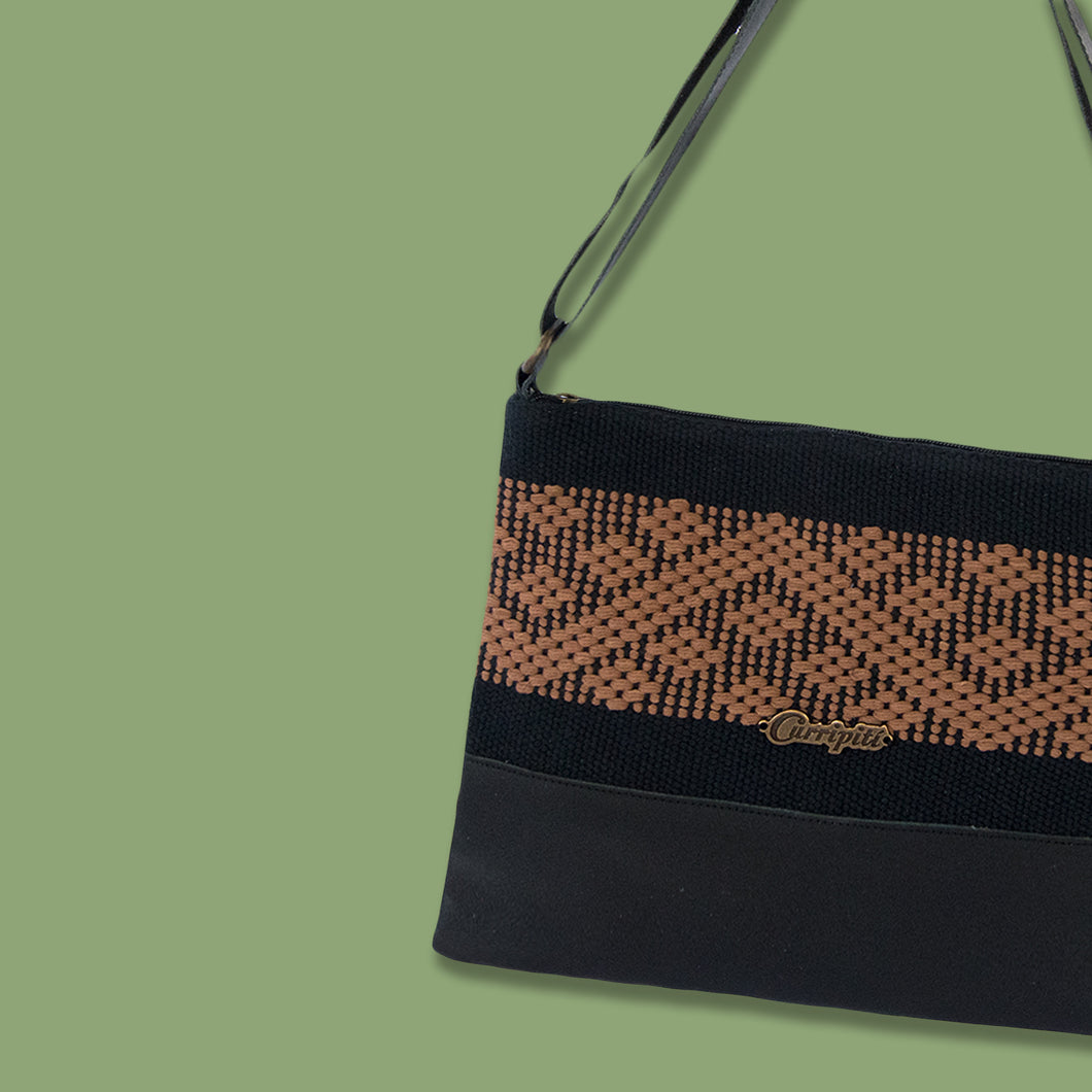 Cross-Body Bag in Black Leather with Brown Stripe.