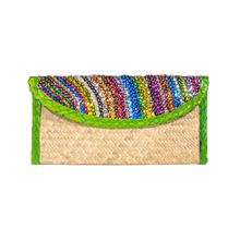 palm woven clutch bag embroidered with sequin, lines, green trim