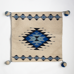 boho style accent pillow made on loom with geometric diamond