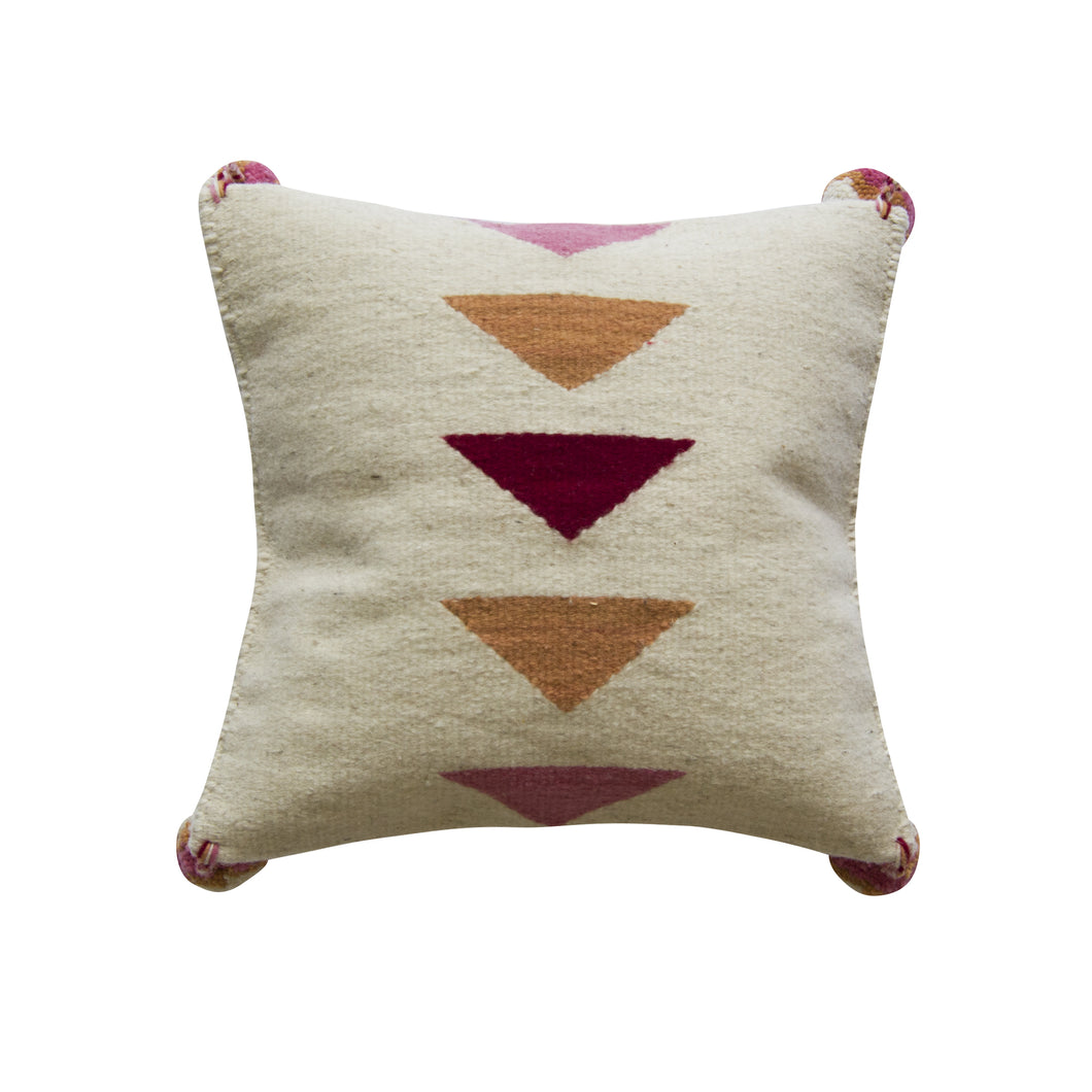 handmade wool accent pillow with triangles