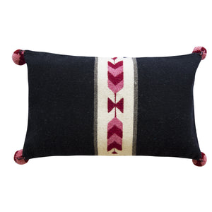 tribal arrow, southwestern print wool pillow made on loom