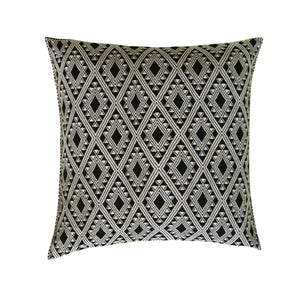 brocade black and white bohemian accent pillow