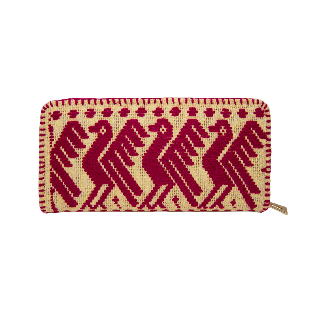ethnic embroidery Mexican wallet featuring birds