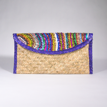 Palm woven clutch bag embroidered with sequin, lines, purple trim