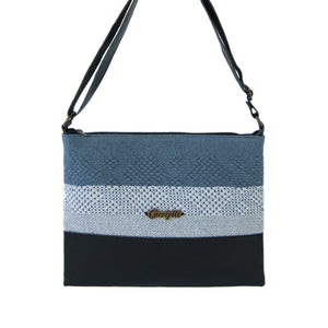 black leather back, gray and blue loom insert