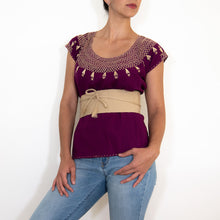 Hand embroidered Mexican purple huipil with beige waist band