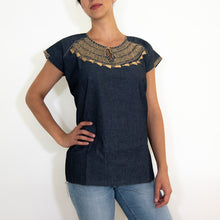 Cross stitch embroidered Mexican blouse, denim
