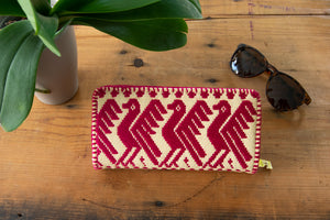 Fair Trade Wallet with Birds in Hot Pink.