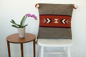 Southwestern wool accent pillow with arrows