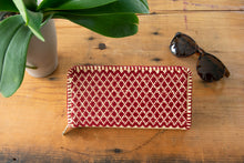 Maxi Wallet, Embroidered with Small Diamonds in Black or Red Color.