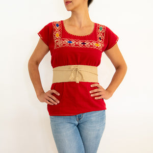 Bright Red Blouse Huipil with Colorful Hand Stitched Embroidery on Chest