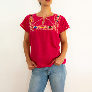 Mexican loose blouse with colorful hilvan embroidery, pink