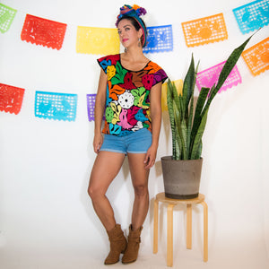 Fully Embroidered Multicolor Huipil