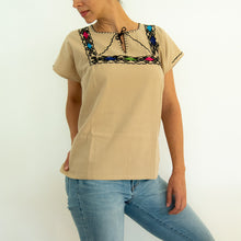 embroidered loose blouse beige