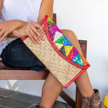 Palm woven clutch bag embroidered with sequin, triangles